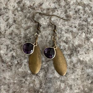 Gold and Purple Drop Earrings
